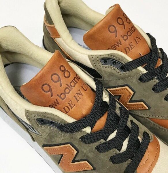 $280 NEW BALANCE 998 Made USA Horween Leather 6 Military Green M998XAD 997 1300