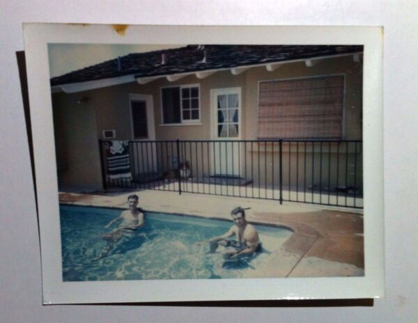 Vintage 70s PHOTO Two Men In Backyard Swimming Pool Relaxing Dog Stuck At Gate $9.49