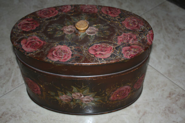 Large Vintage Oval Wooden Pantry Box Paint Decorated Folk Painted Rustic 16