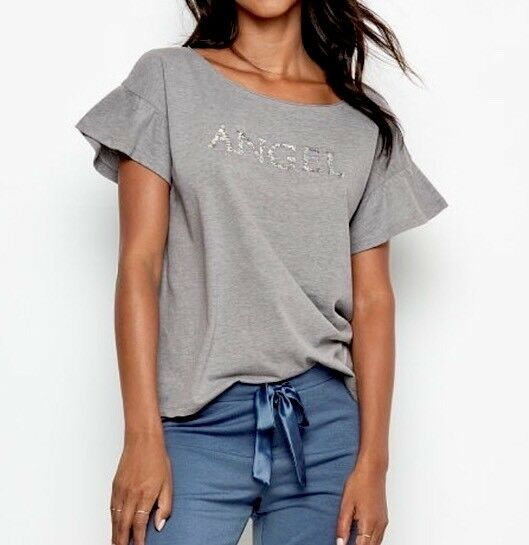 VICTORIA#x27;S SECRET RUFFLE TEE SHORT SLEEVE BLING SEQUIN GRAPHIC ANGEL SMALL D72 $10.70