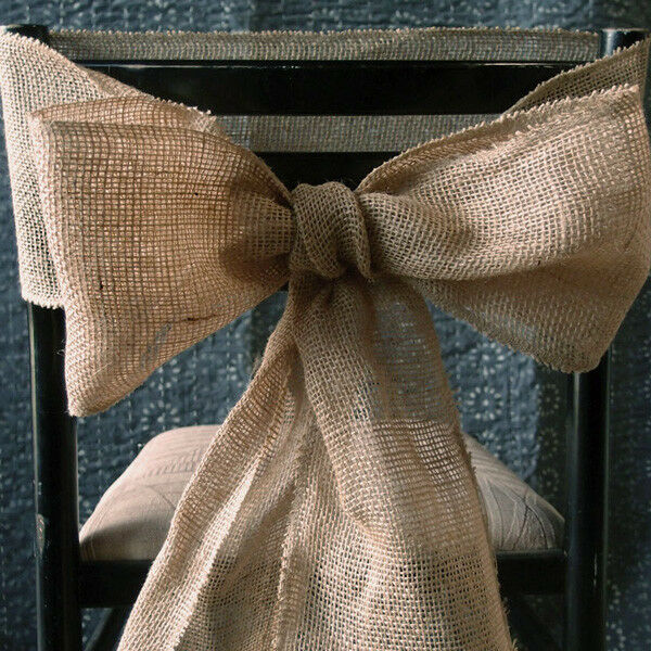50 x Hessian Chair Sashes Natural Burlap Jute Rustic Vintage Wedding Party Decor