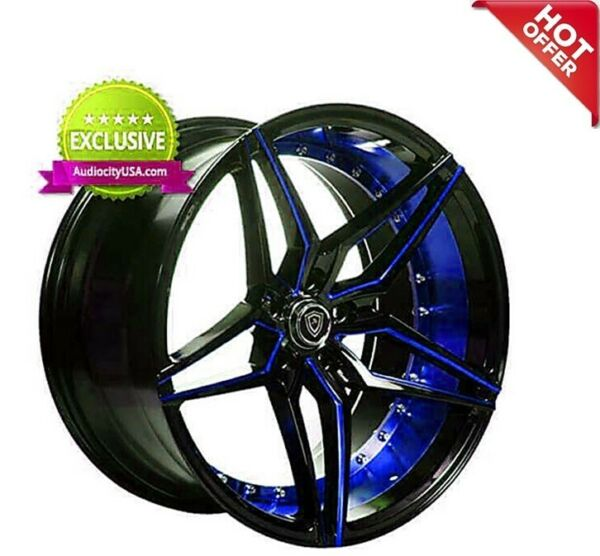 Set4 20x9.0 Marquee 3259 Wheels Custom Paint Black & Blue  w Tires & TPMS