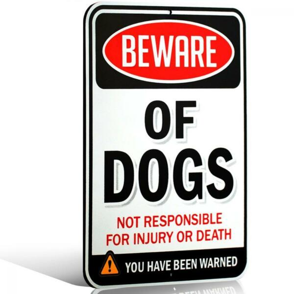 Sign Beware Dogs Funny Scary Not Responsible Indoor Outdoor Decor Warning NEW $23.17