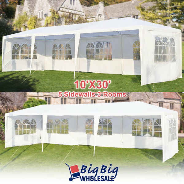 10#x27;x30#x27; Wedding Party Tent Outdoor Canopy Gazebo Heavy Duty Pavilion 5 Windows