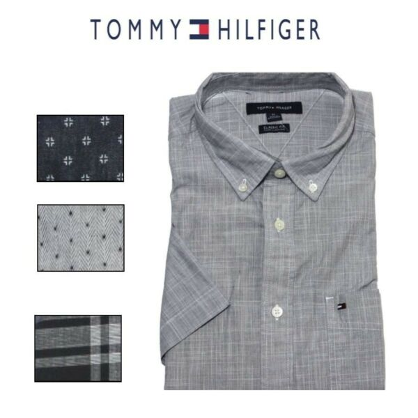 Tommy Hilfiger Men#x27;s Short Sleeve Button Up Woven Shirt $18.99