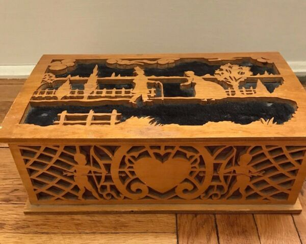 Antique Wooden Tramp Art Carved Wooden Box Love Cupid Sweetheart Box Folk Art