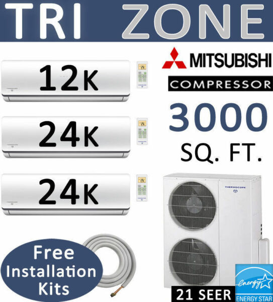 60000 BTU TriZone Ductless Mini Split Air Conditioner Heat Pump 12000 + 24000 x2