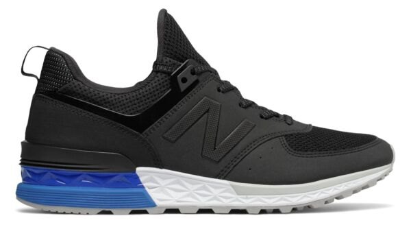 New Balance 574 Sport Mens Shoes Black with Blue