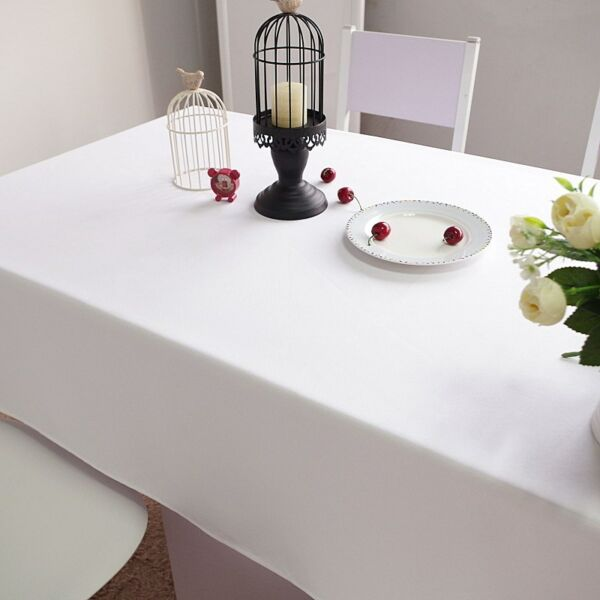 2pc 137x137cm Premium Spun Poly Thick Table Cover White Square Large Table Cloth