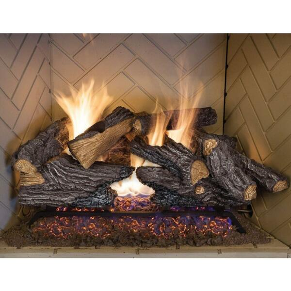24 In Split Oak Vented Natural Gas Log Set Dual Burner Chimney Fireplace Fire