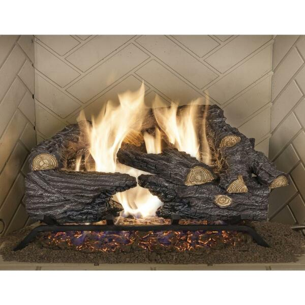 Natural Gas Fireplace Heater Log Set 18 in. Split Oak Vented Realistic Emberglow