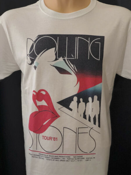 Rolling Stones 1981 Tour Concert T Shirt White Graphic Tee