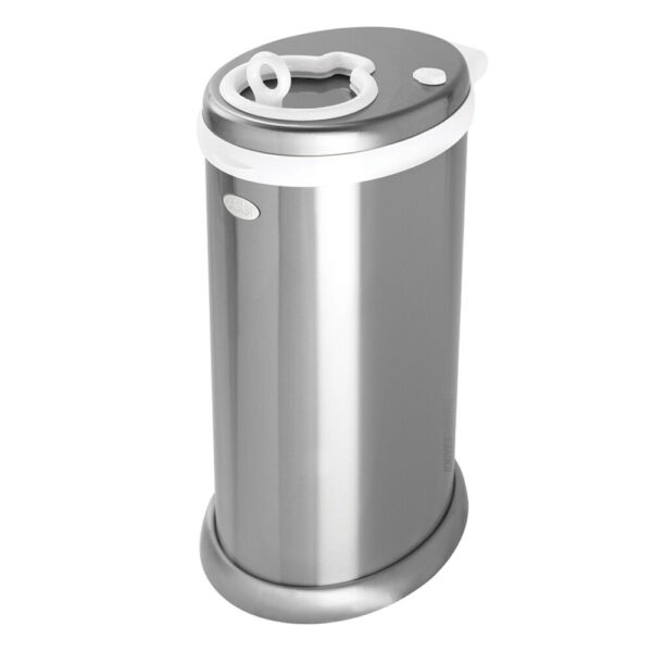 NEW UBBI NEWBORN BABY NAPPY DIAPER PAIL BIN - METALLIC CHROME DELUXE EDITION