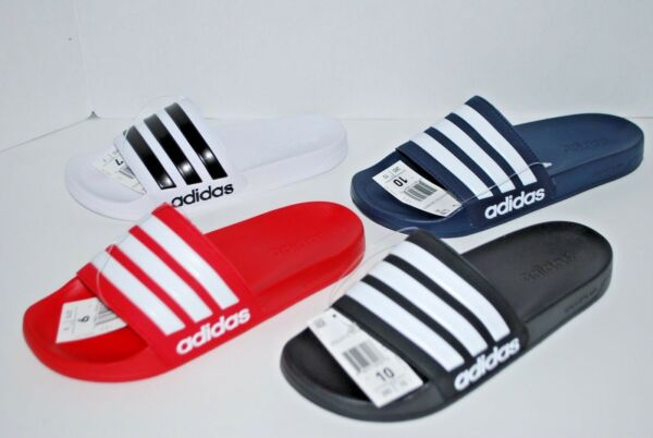 NEW NWT ADIDAS ADILETTE CF SLIDES BLACK RED WHITE NAVY 4-13 mens shower sandals