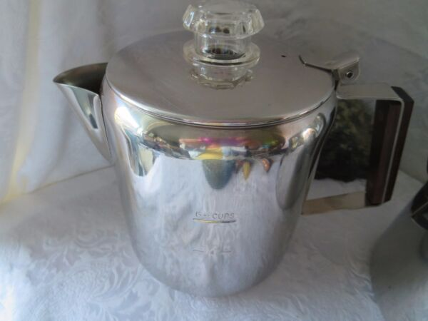 2 Stainless Steel Percolator Stove Top 6 & 9 Cup Coffee Pot Vintage Camping RV's