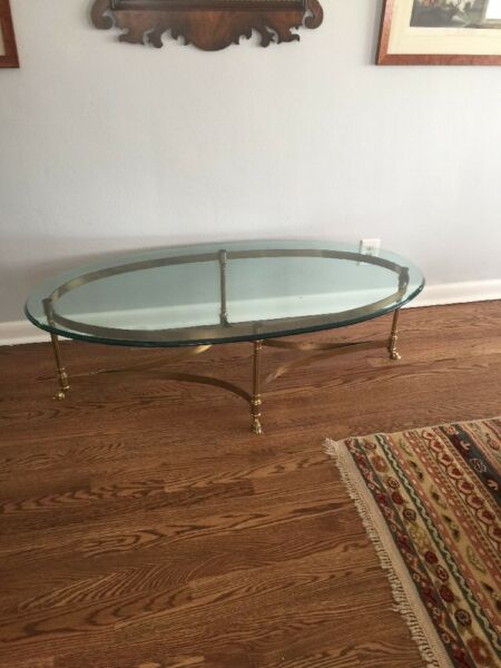 LABARGE Hoof Foot Oval Brass & Glass Coffee Table
