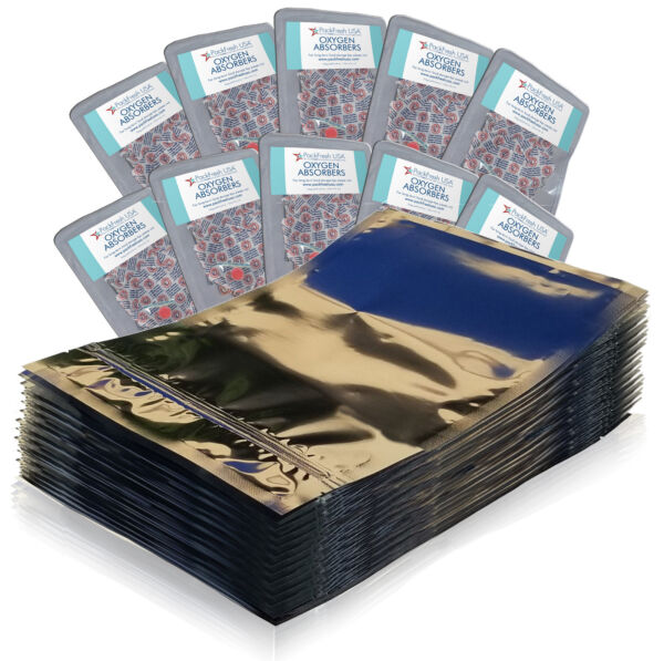 100 Pack One Quart Seal Top Mylar Bags 300cc Oxygen Absorbers $38.99