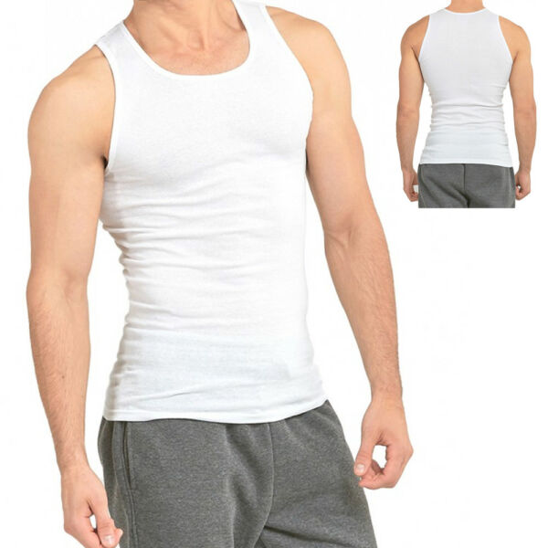 3 6 Packs Mens 100% Cotton Tank Top A Shirt Wife Beater Undershirt Ribbed Muscle