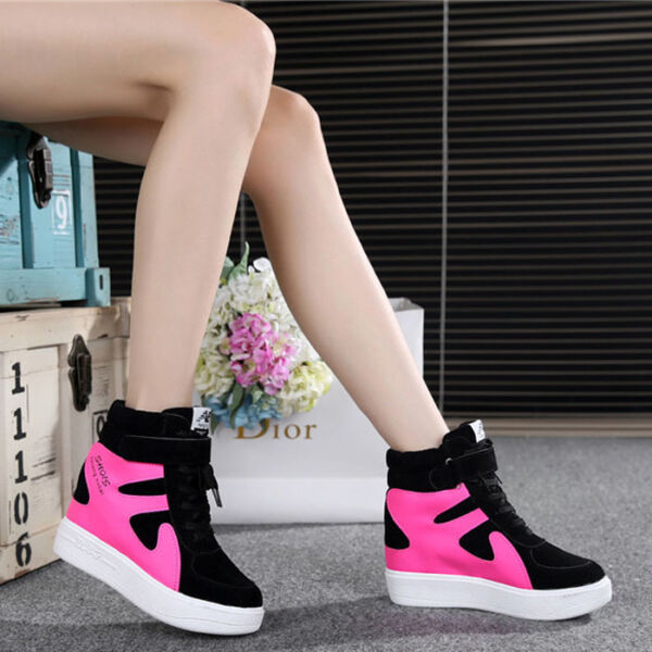 2017 FASHION Women's Lace Up Hidden Wedge High Top Sneakers Athletic Shoes