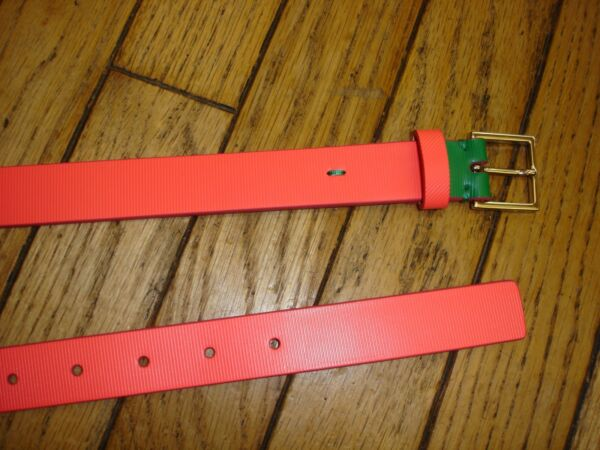 PAUL SMITH WOMEN LEATHER EMBOSSED CORAL  BELT BNWT