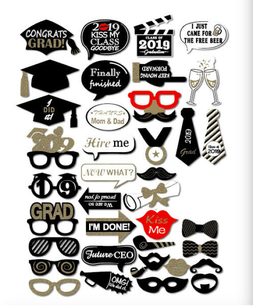 38PCS Class Of 2018 Graduation Grad Party Supplies Masks Photo Booth Props US