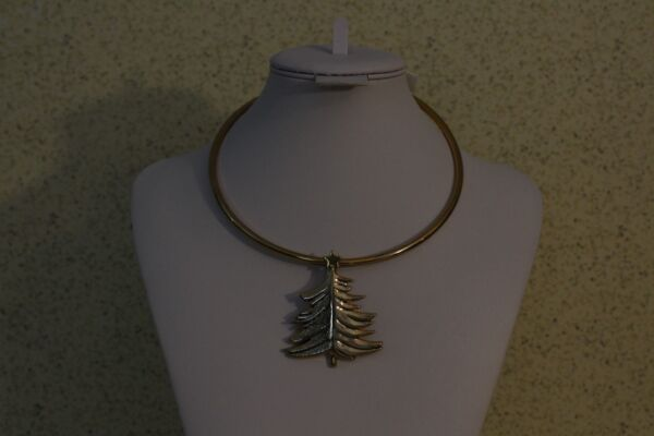 CHRISTMAS TREE NECKLACE Gold Tone NWT