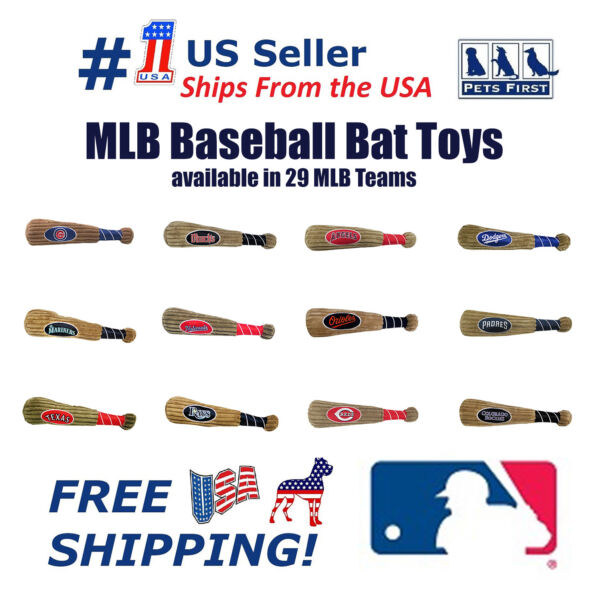 Pets First MLB Baseball Bat Toy for Dogs. - Pet Squeaking Plush Sports Toy
