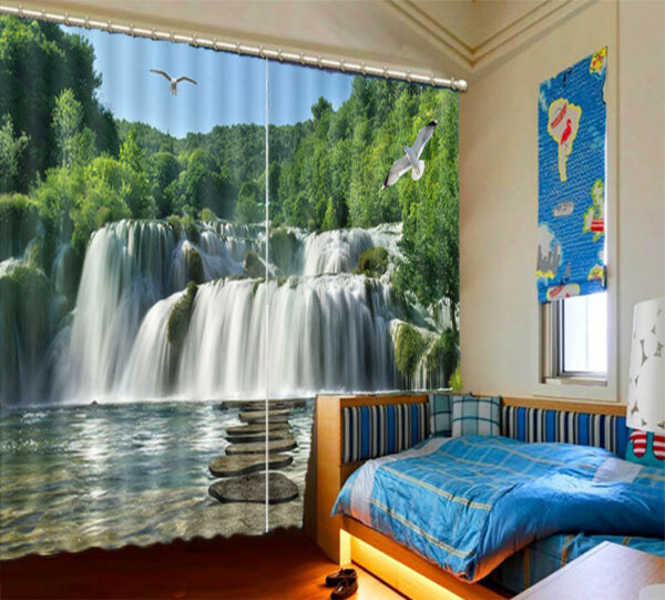 Stone Small Stage 3D Blockout Photo Curtain Print Curtains Fabric Kids Window