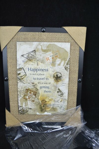 Wall Art Sign Happiness Travel Getting there Burlap Frame Elephant Map #194