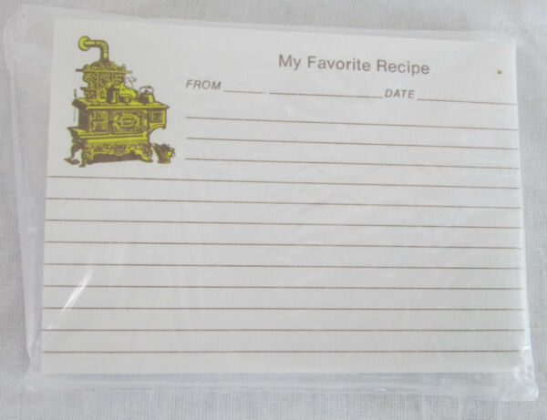 Vintage Recipe Index Cards Wood Stove Kitchen Old Fashioned Country Box Paper