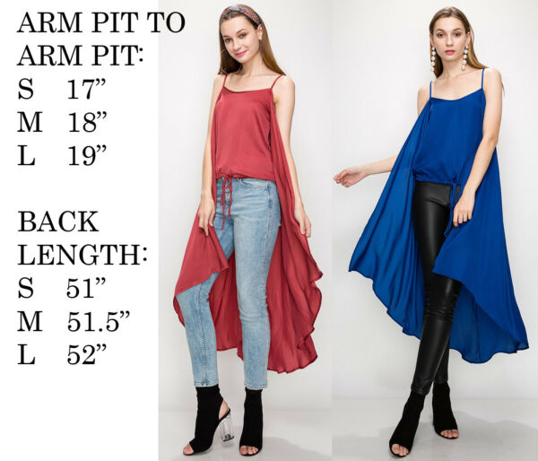 FASHION WOMENS MAXI HIGH LOW SLEEVELESS CAPE BLOUSE TANK TOP SHIRT