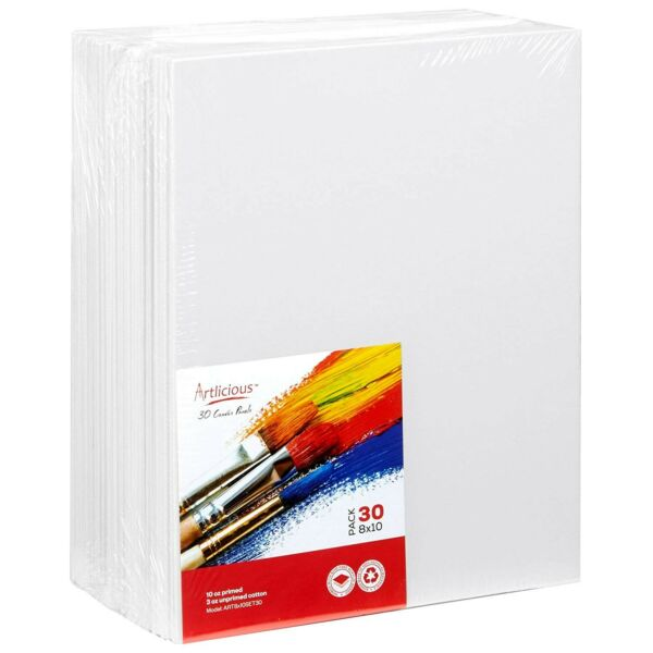 Artlicious - 30 Classroom Value Pack - 8x10 Primed Canvas Panel Boards - Indi...