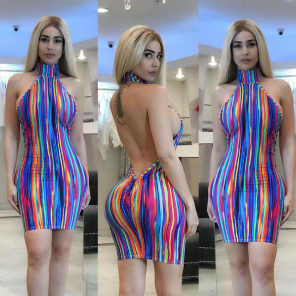 Summer Sexy Women Halter Multicolor Striped Backless Bodycon Mini Party Dress US