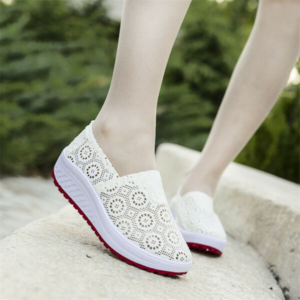Women's Sneakers Shake Shoes Slip On Mesh Breathable Thick Platform Casual NEW