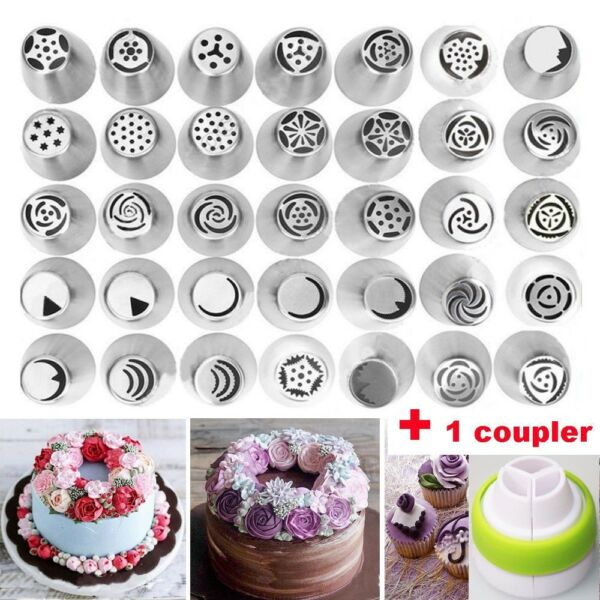 35 Pcs Set Russian Tulip Flower Cake Icing Piping Nozzles Decor Tips Baking Tool