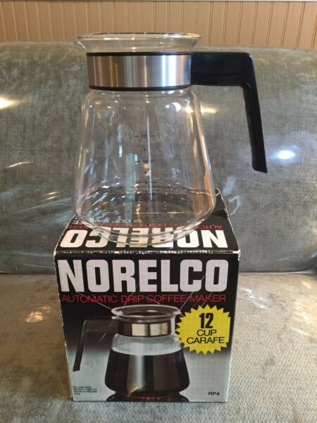 Vintage (1980) NORELCO 12 Cup RP4 Glass Coffee Pot REPLACEMENT CARAFE - NEW