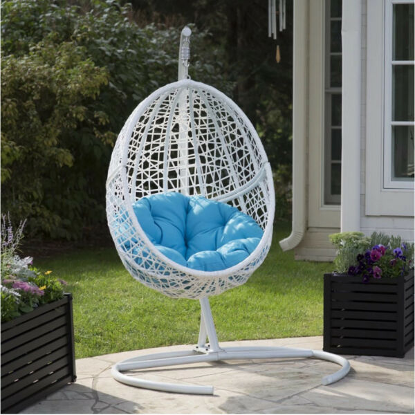Resin Wicker Hanging Egg Chair Hammock Swing w Stand Indoor  Outdoor Sky Blue