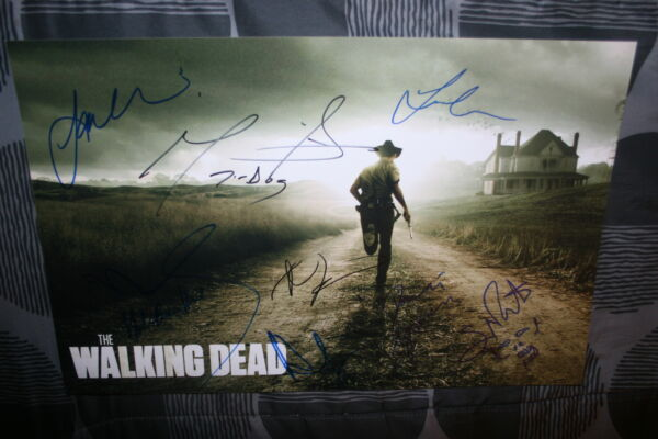 THE WALKING DEAD CAST SIGNED 11x17 PHOTO ANDREW LINCOLN  ROBERT KIRKMAN DC/COA