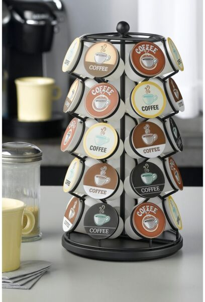 Home Kitchen Coffee Storage Organizer Lazy K-Cup Carousel Pod Rack Holder Black
