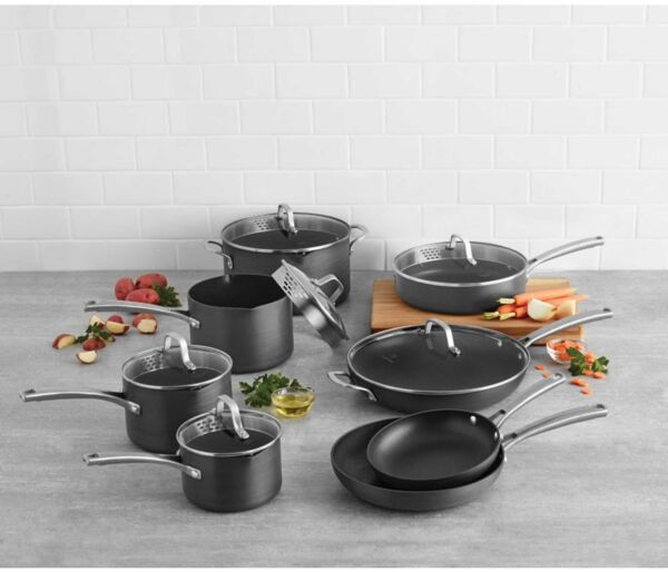 14-Pc Home Indoor Kitchen Cooking Tool Hard Anodized Nonstick Cookware Set Black