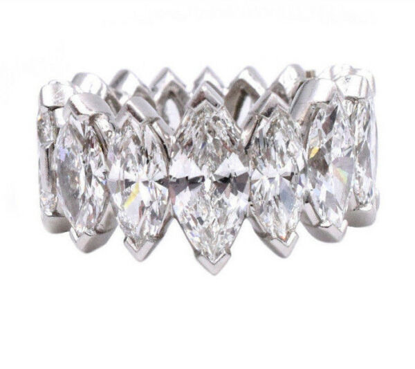 10ct Marquise Cut Diamond Eternity Hinged Super Fit Band For Arthritic Finger VS
