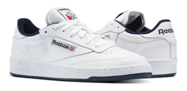 Reebok Classic Club C 85 White, Navy Mens Sneakers Tennis Shoes Item AR0457