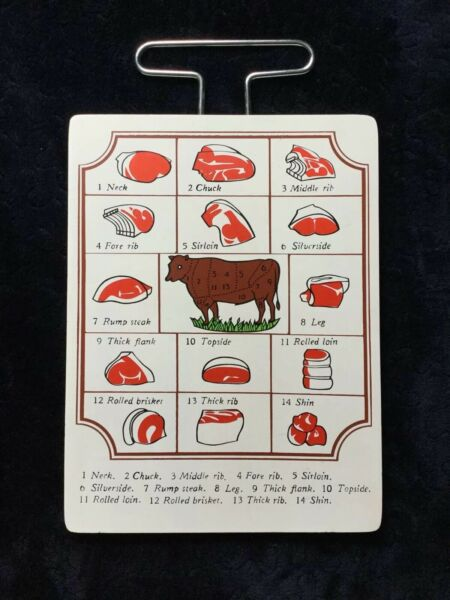 Enesco Meat Lovers Beef Cuts Butcher Diagram Vintage Style Wall Hanging $19.99