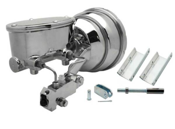 DRUM DRUM 55 56 57 Chevy GM Car 8quot; Dual Booster Chrome Master Cylinder brake $395.00