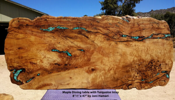 Maple Burl Dining Conference Live Edge Slab Table Turquoise Inlay Joni Hamari