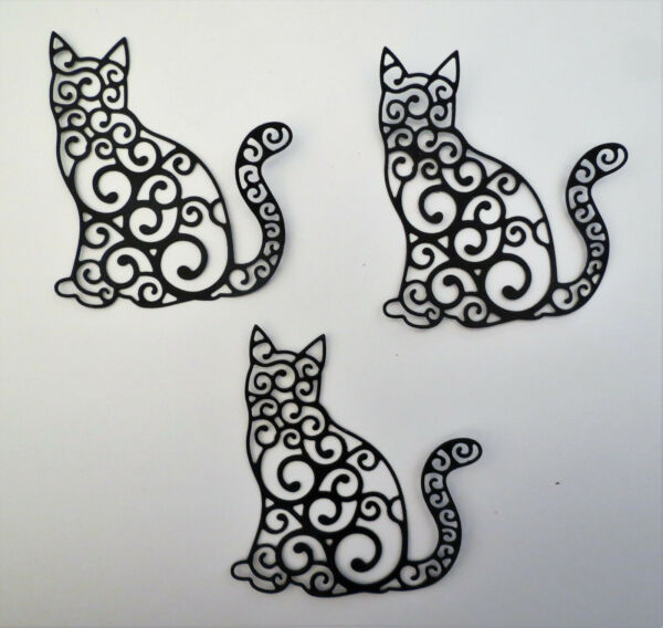 Cat Intricate Fancy Large Paper Cardstock Die Cut 3 Pcs Cardmaking Scrapbooking $1.80