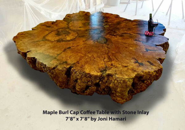 HUGE Maple Burl Coffee Table Live edge wood slab Stone Inlay 8x8 Ft Joni Hamari