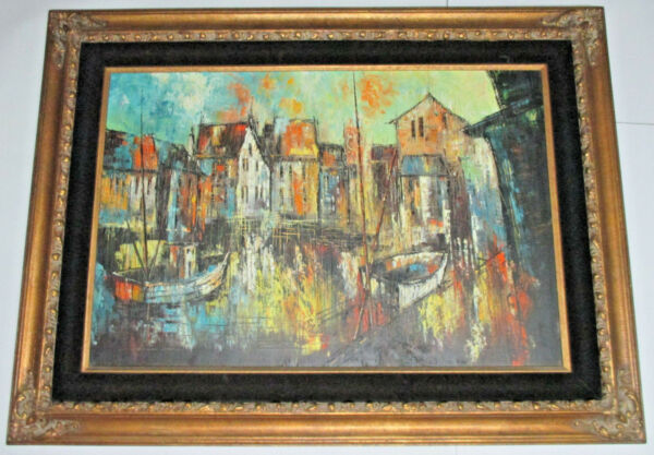 C. FRANCISCO GOLD WOODFELT FRAMED OIL ON CANVAS HARBOR SCENE POSSIBLE BOTONG