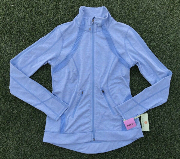 Tangerine Womens Active Performance Jacket Dusty Blue Thumbhole Full Zip Top NWT