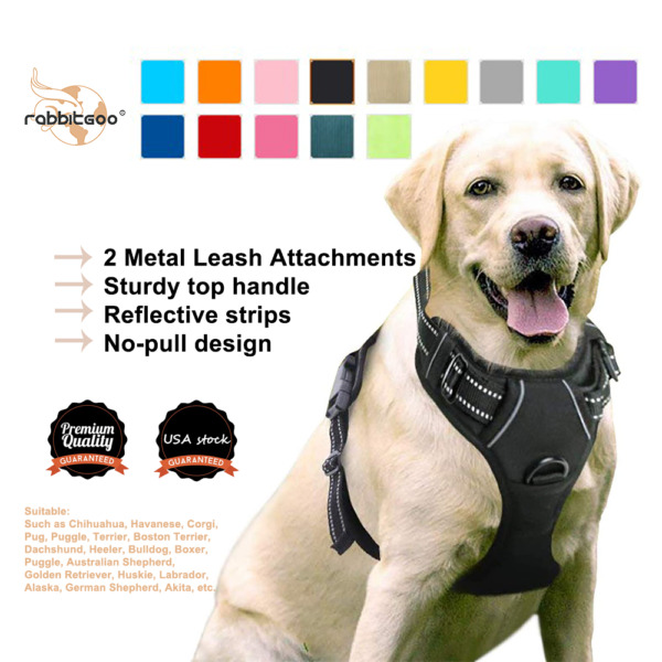 Rabbitgoo No Pull Dog Pet Harness Control Adjustable Reflective Collar Soft Vest $17.89